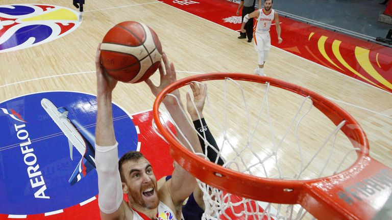 Victor Claver #10 of Spain dunks during the Group J FIBA Basketball World Cup China 2019 match between Spain and Serbia at Wuhan Sports Center on September 08, 2019 in Wuhan, China