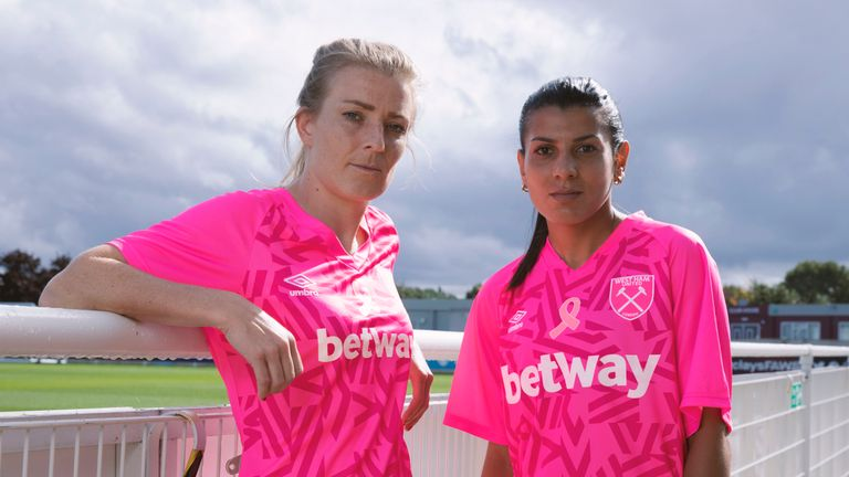 West Ham United Women Release New Shirt In Partnership With Breast Cancer Now Football News Sky Sports