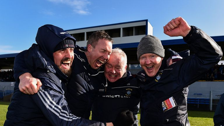 O'Brien, second from left, celebrates Westmeath's National League promotion earlier this year