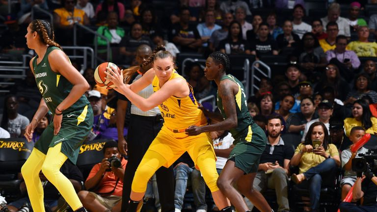 WNBA: Candace Parker leads Los Angeles Sparks to big win over Seattle Storm which wraps up No 3 playoff seed | NBA News |