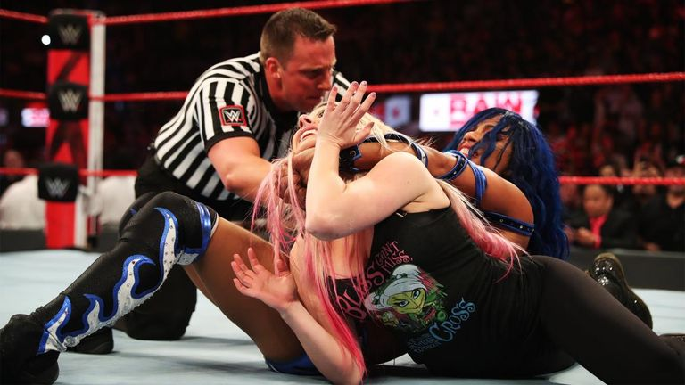 Alexa Bliss did not have a match this week but still took a hefty beating from Sasha Banks