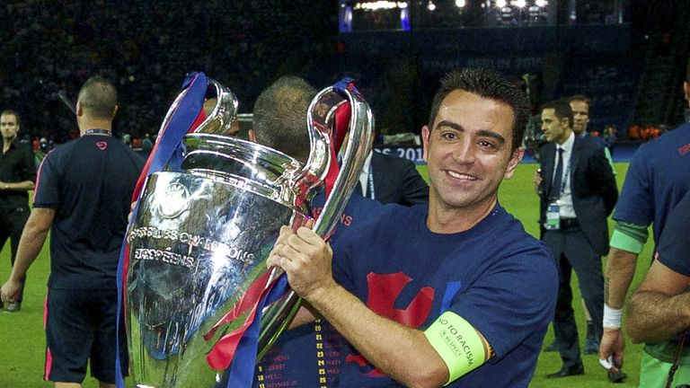 Xavi won the Champions League in his final game with Barcelona in 2015