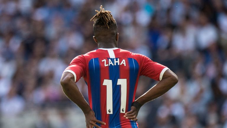 Crystal Palace's Wilfried Zaha looks frustrated