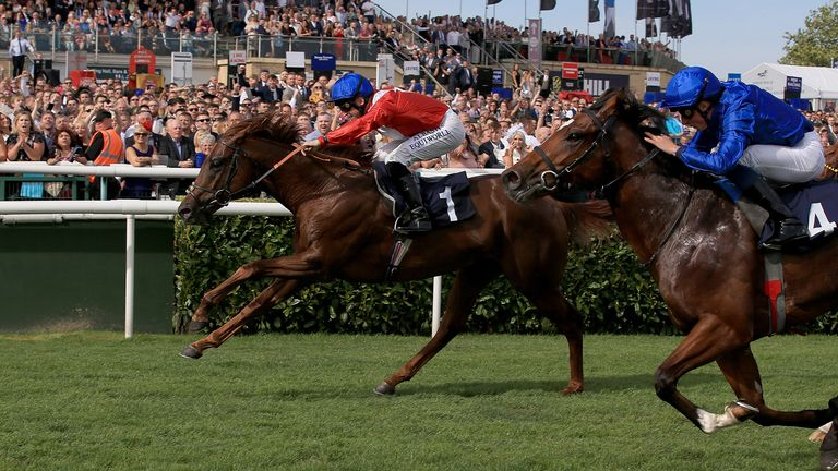 Threat (Left) ridden by Pat Dobbs wins the Pommery Champagne Stakes during day four of the William Hill St Leger Festival at Doncaster Racecourse. PA Photo. Picture date: Saturday September 14, 2019. See PA story RACING Doncaster. Photo credit should read: Clint Hughes/PA Wire