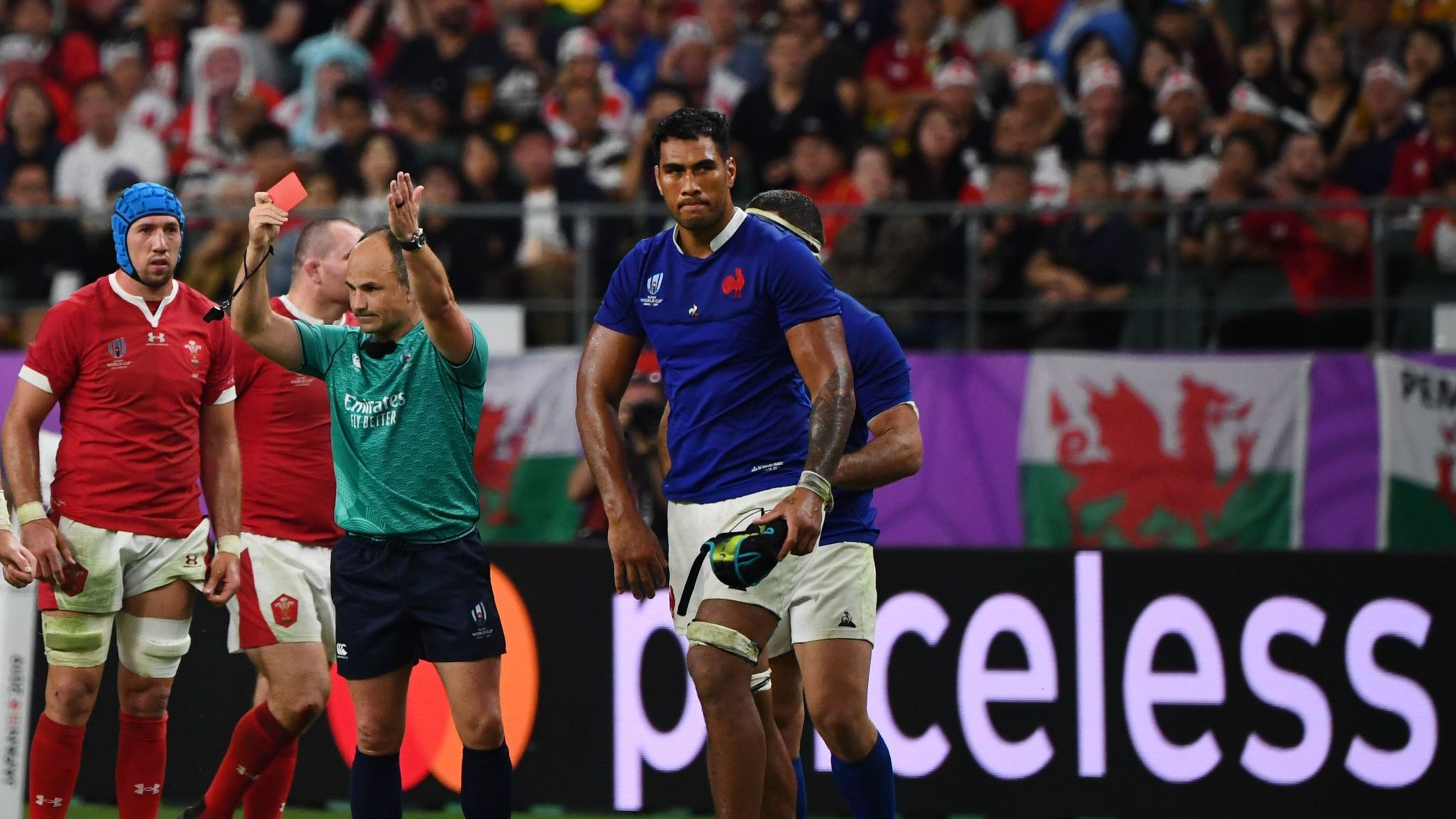 Rugby World Cup referee Jaco Peyper mocks France elbow red card after Wales win