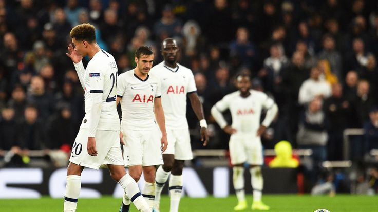 Tottenham players look dejected during the capitulation on Tuesday night