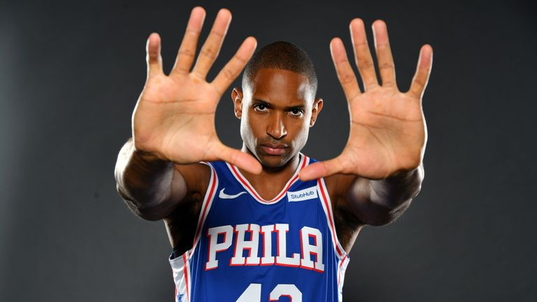 Al Horford pictured at a Philadelphia 76ers media photoshoot