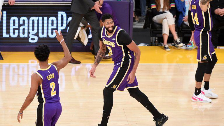 Anthony Davis celebrates after scoring against the Utah Jazz