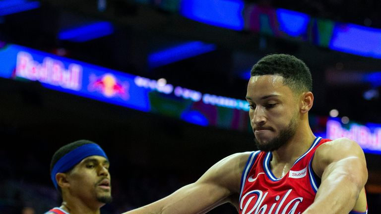Ben Simmons celebrates a basket in Philadelphia's win over the Loong Lions