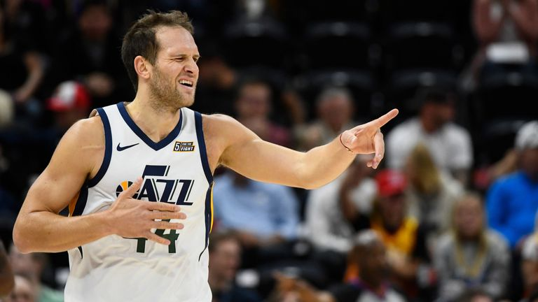 Bojan Bogdanovic acknowledges an assist from a Jazz team-mate