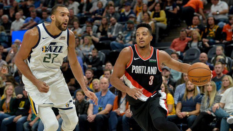 CJ McCollum attacks off the dribble against the Utah Jazz