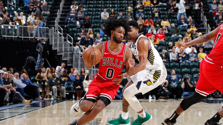 Coby White drives at the Indiana Pacers' defense