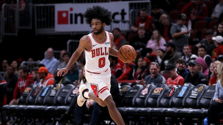 Coby White dribbles upcourt against Atlanta
