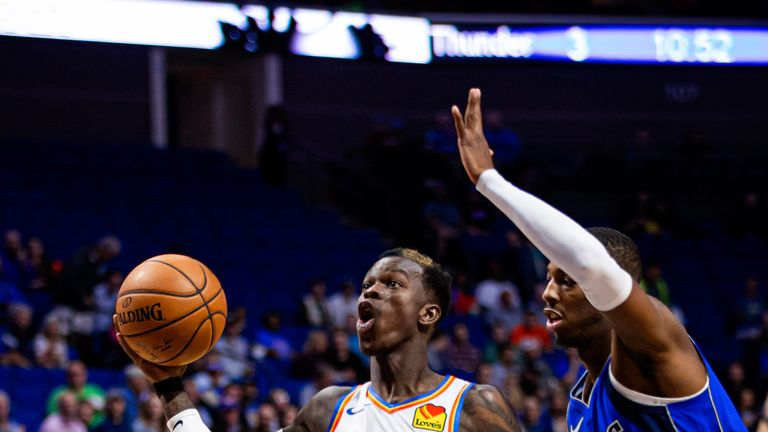 Dennis Schroder rises for a lay-up against Dallas