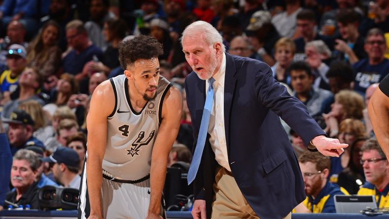Derrick White receives instructions from Spurs coach Gregg Popovich