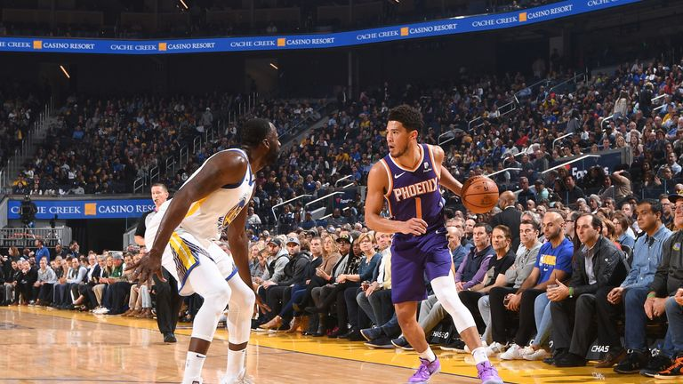 Devin Booker attacks from the win against Golden State