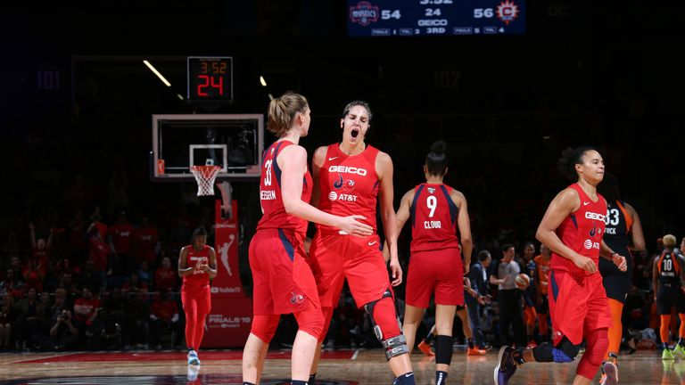 Elena Delle Donne celebrates a big play during Game 5 of the WNBA Finals