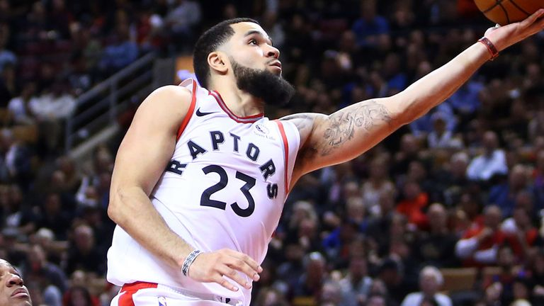 Fred VanVleet scores at the rim during Toronto's overtime win over New Orleans