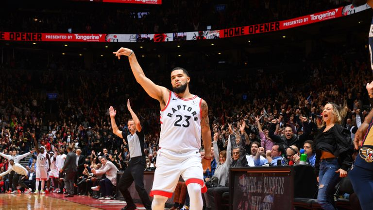 Fred VanVleet celebrates a three-pointer during the Raptors' OT win over the Pelicans