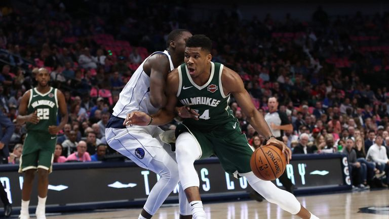 Giannis Antetokounmpo in action against the Dallas Mavericks