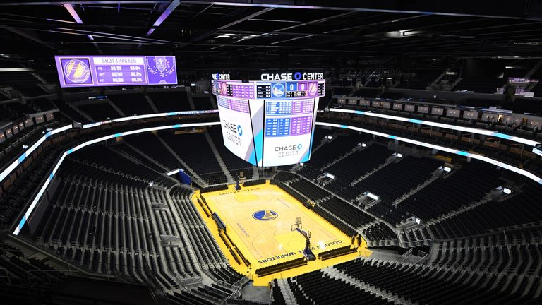 A panoramic shot of Chase Center, the Golden State Warriors new home