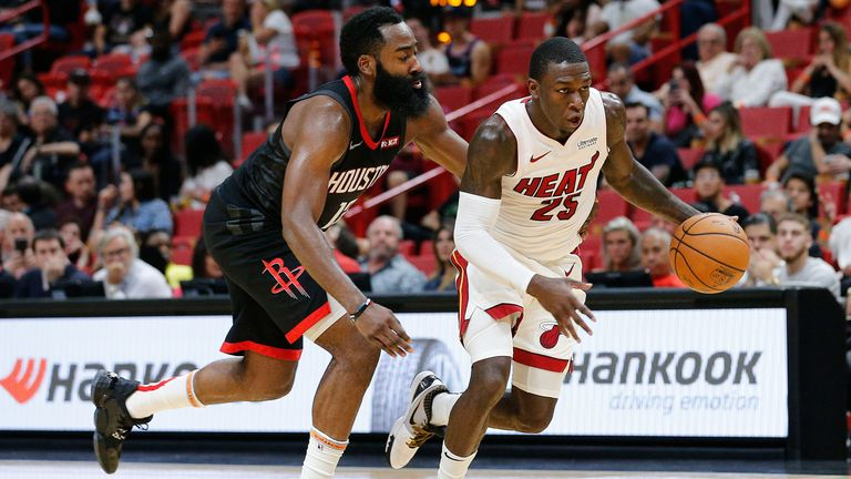James Harden chases back on defense against Miami