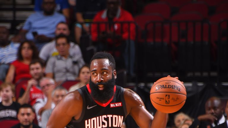 James Harden attacks off the dribble against Shanghai