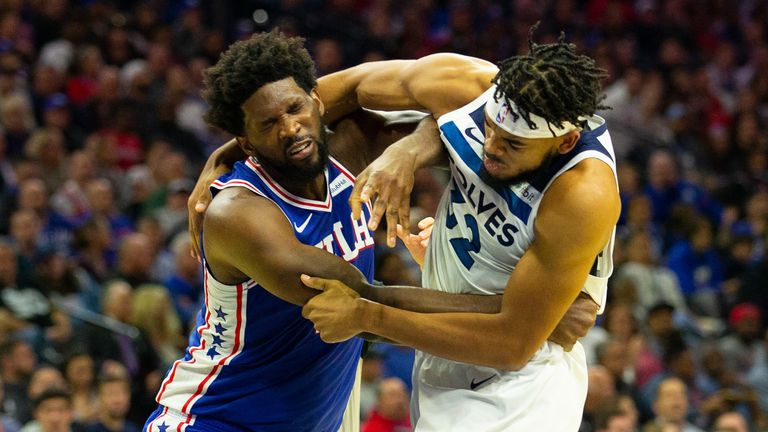 Joel Embiid and Karl-Anthony Towns brawl during the 76ers' win over the Timberwolves
