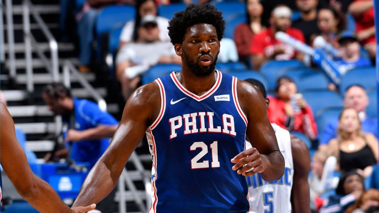 Joel Embiid in action for the Sixers in preseason against the Magic