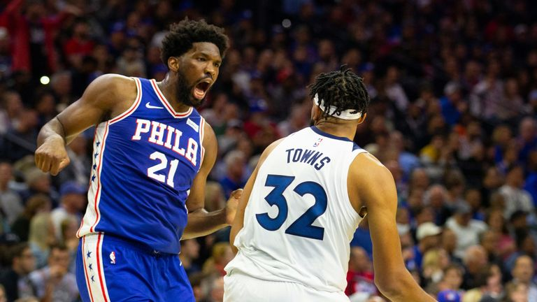 Joel Embiid faces off with Karl-Anthony Towns during the Sixers win over the Timberwolves