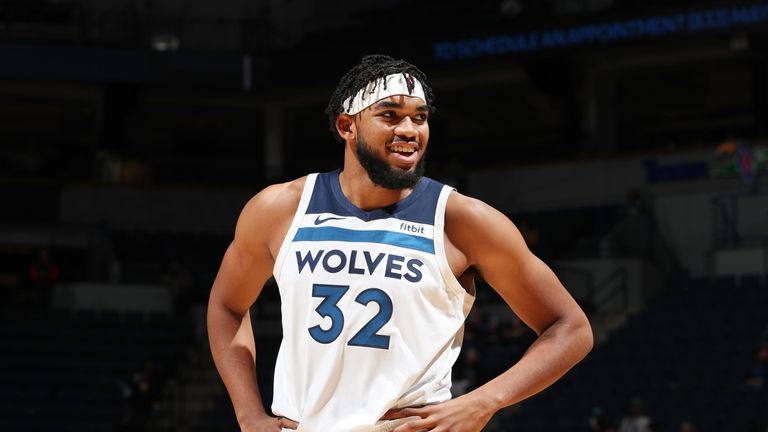 Karl-Anthony Towns in preseason action for Minnesota
