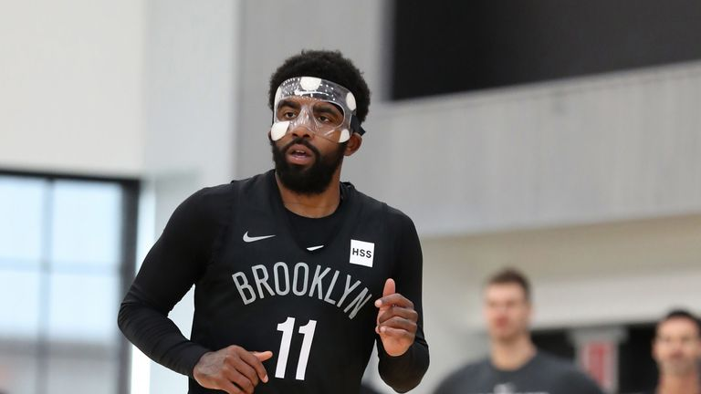 Kyrie Irving in action at Nets practice