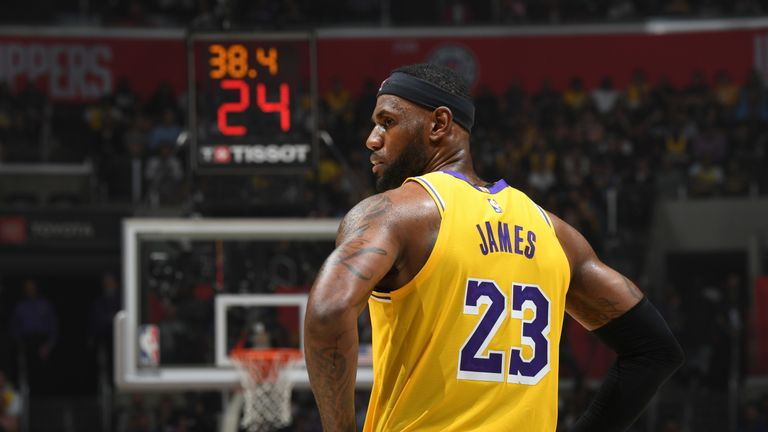 LeBron James pictured on court during the Los Angeles Lakers' loss to the LA Clipper on Opening Night