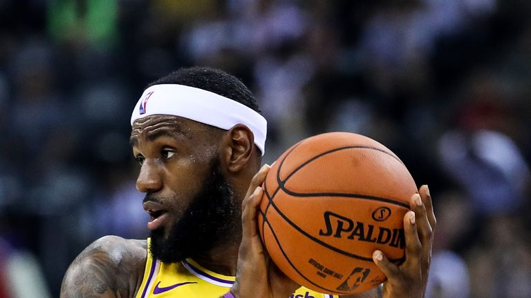 LeBron James in action for the Lakers in Shenzen