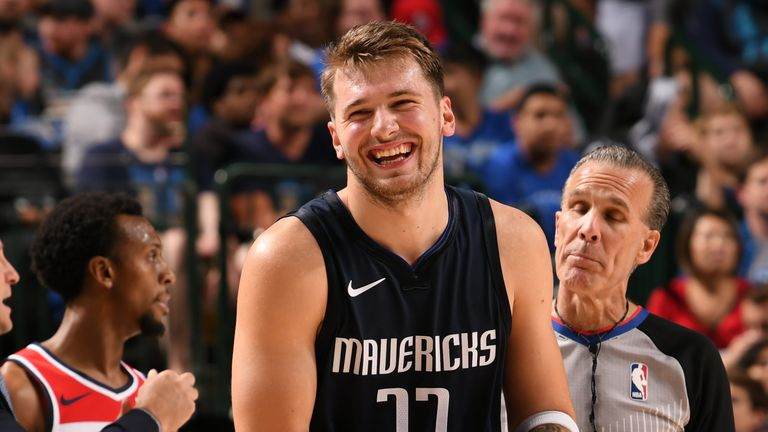 A joyous Luka Doncic pictured en route to 34 points against Washington