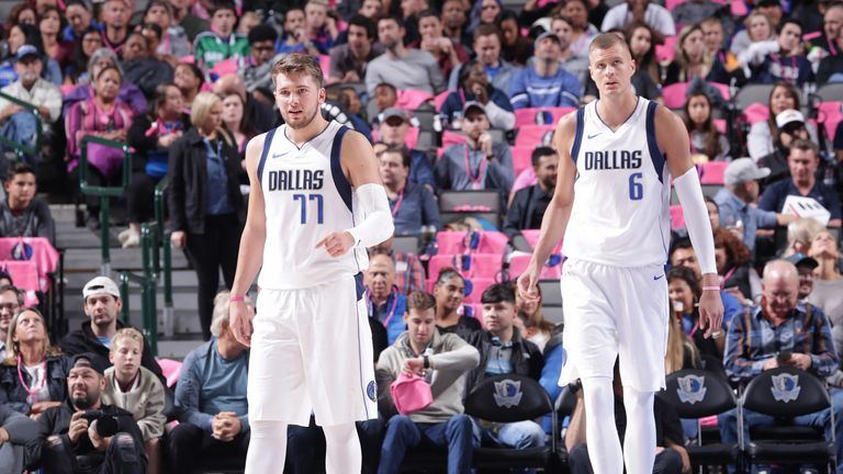 Luka Doncic and Kristaps Porzingis in preseason action for Dallas