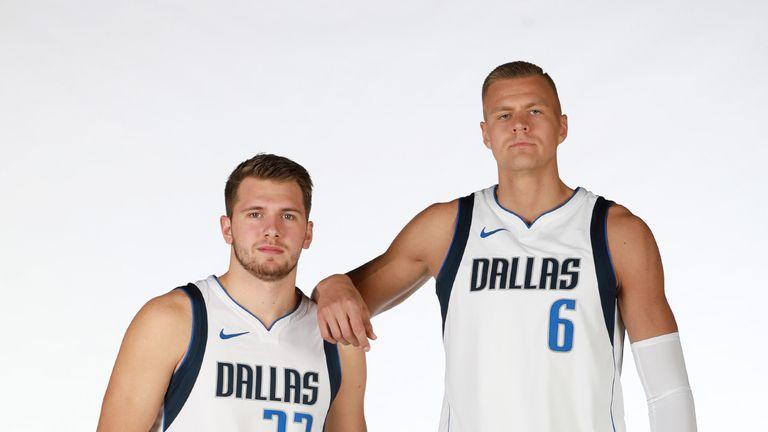 Luka Doncic and Kristaps Porzingis pose at Dallas Mavericks media day