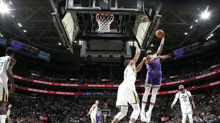 Marvin Bagley soars to collect a rebound against the Utah Jazz