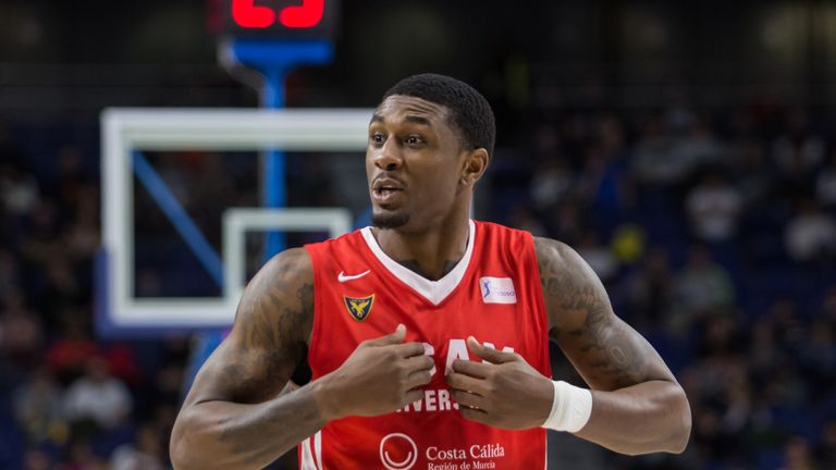 Ovie Soko pictured during UCAM Murcia's loss to Real Madrid