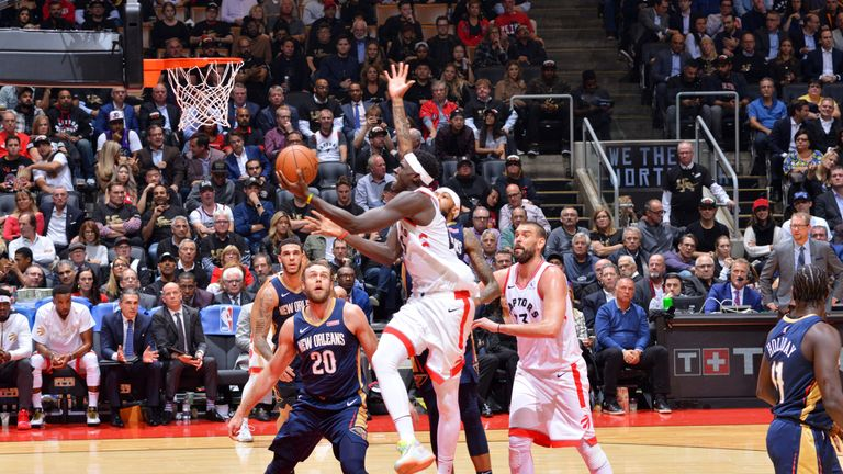 Pascal Siakam attacks the rim against the New Orleans Pelicans