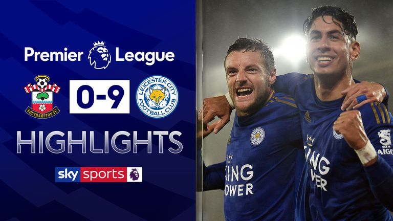 Southampton 0 9 Leicester Ayoze Perez And Jamie Vardy Net Hat Tricks In Record Breaking Win Football News Sky Sports