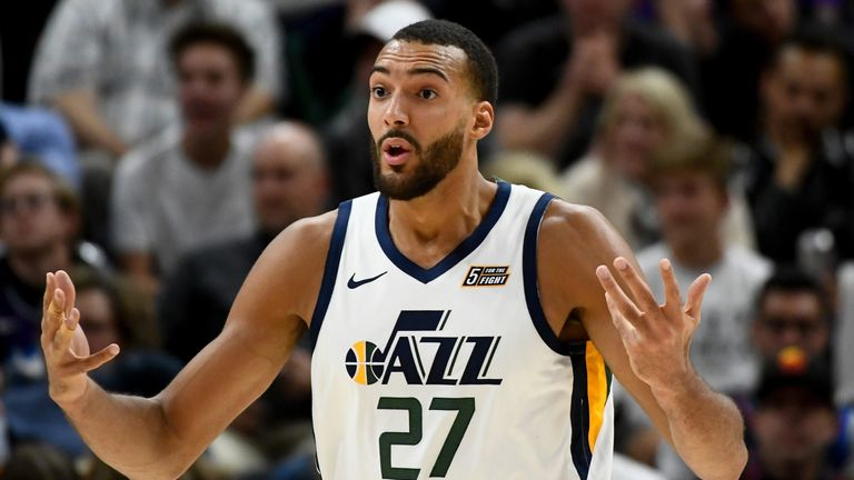 Rudy Gobert questions a call in Utah's win over the Thunder