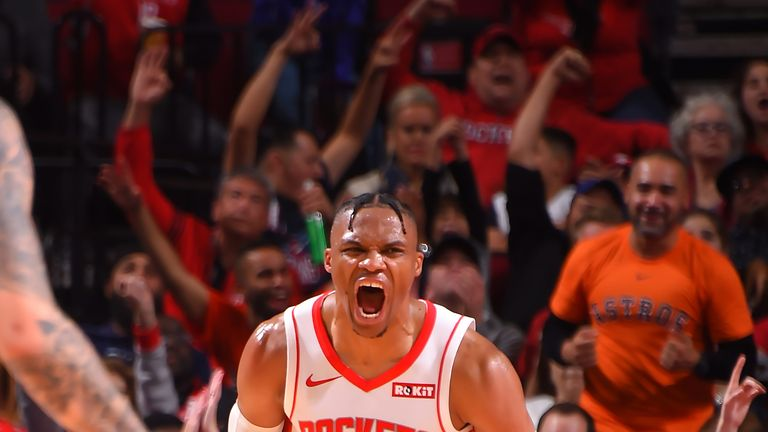 Russell Westbrook roars in celebration en route to his 139th career triple-double