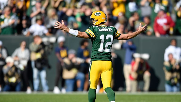 Aaron Rodgers threw for six touchdowns in an epic outing against the Raiders