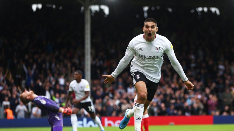 Aleksandar Mitrovic of Fulham celebrates scoring his sides second goal during the Sky Bet Championship match between Fulham and Charlton Athletic at Craven Cottage