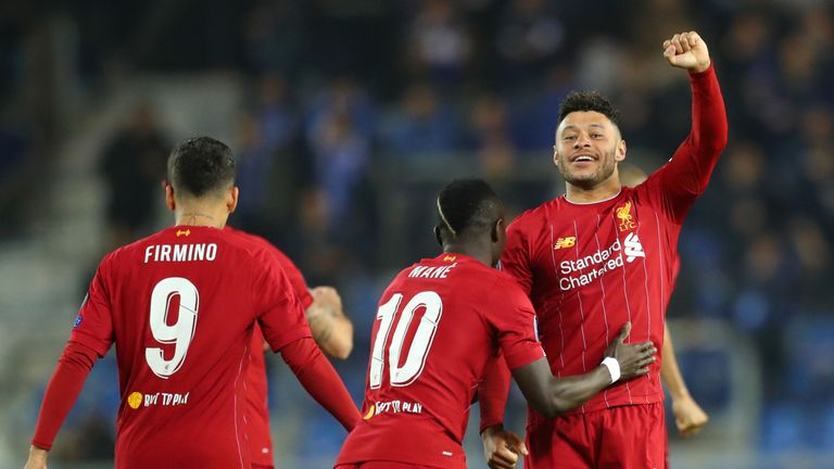 Alex Oxlade-Chamberlain celebrates scoring for Liverpool against Genk
