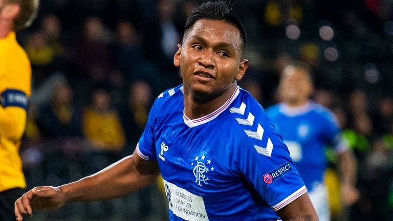 Alfredo Morelos celebrates after scoring to make it 1-0 to Rangers at Young Boys