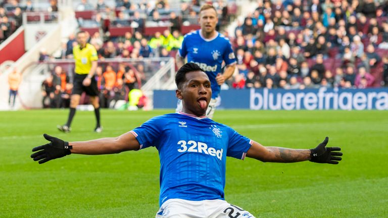 Rangers' Alfredo Morelos celebrates after he slots home to make it 1-1 against Hearts