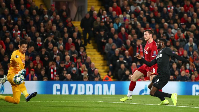 Andrew Robertson fires in Liverpool second after 25 minutes