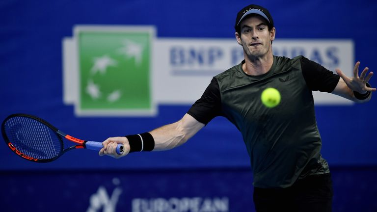 Andy Murray in action at the European Open